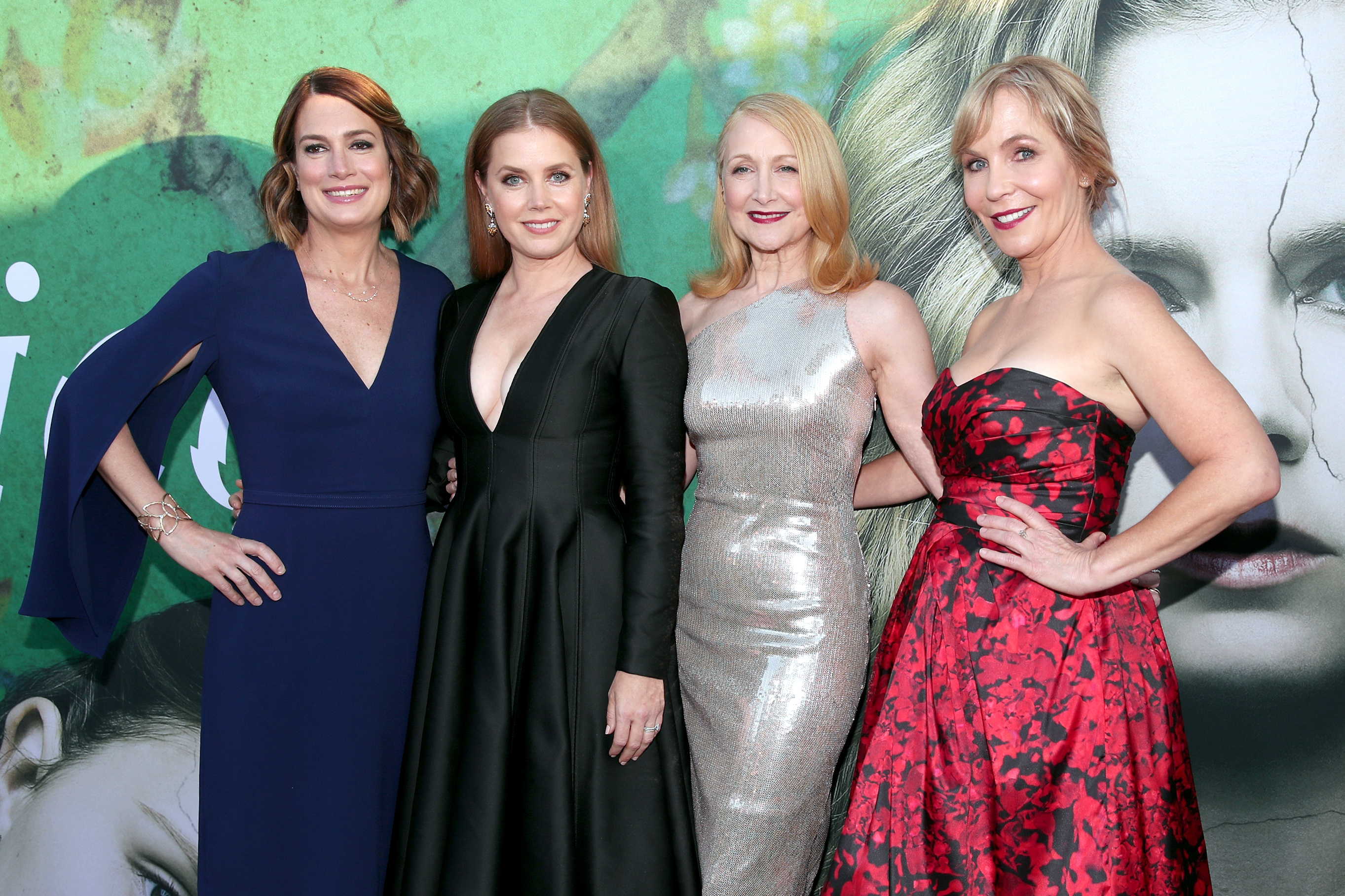 (L-R) Executive Producer/Author Gillian Flynn, Amy Adams, Patricia Clarkson, and Executive Producer/Creator Marti Noxon attend the premiere of HBO's 'Sharp Objects' at The Cinerama Dome on June 26, 2018 in Los Angeles, California.
