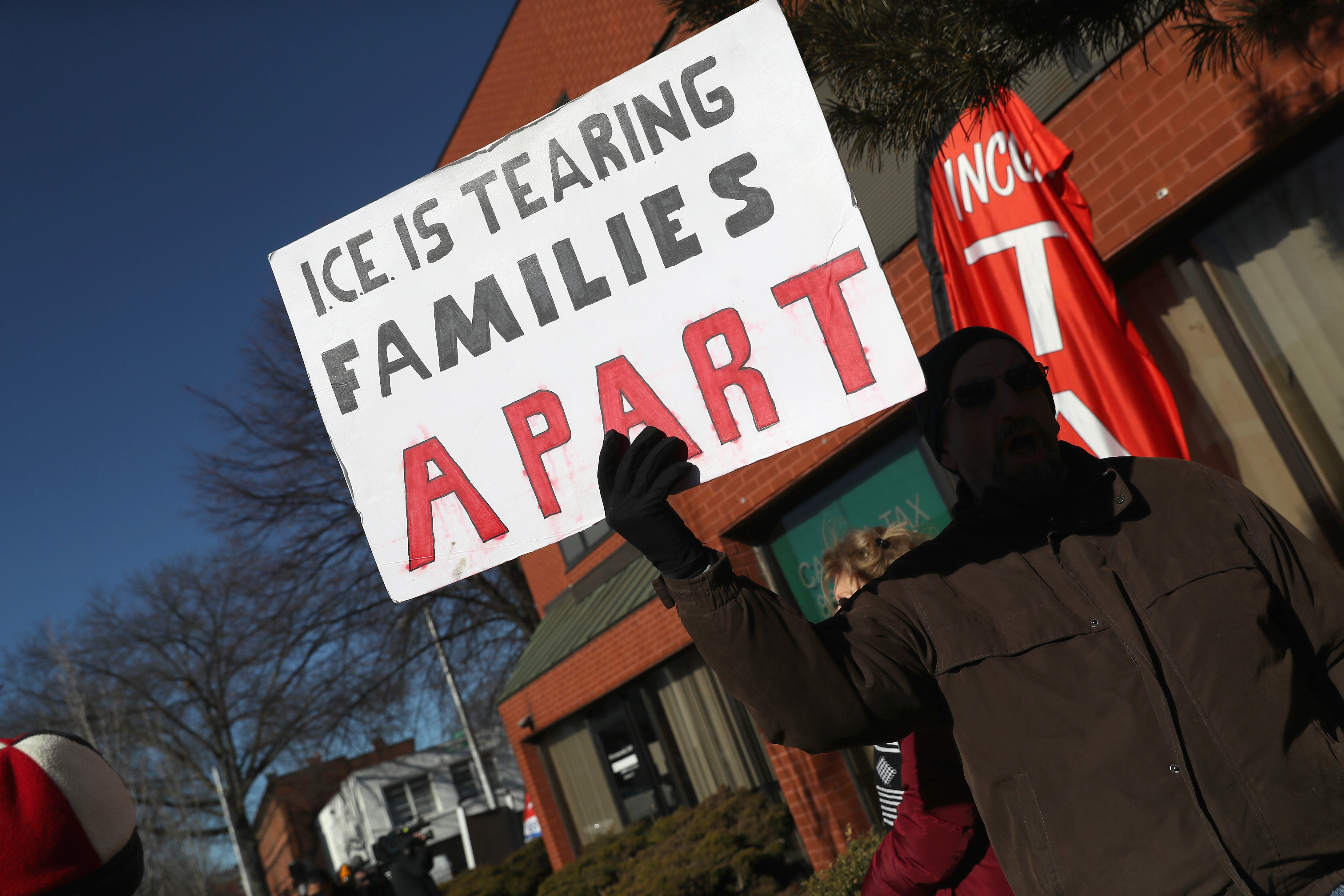 Immigrants' rights groups rally in support of Guatemalan immigrant Joel Colindres, 31, during his ICE check-in on January 25, 2018 in Hartford, Connecticut. (Getty Images)