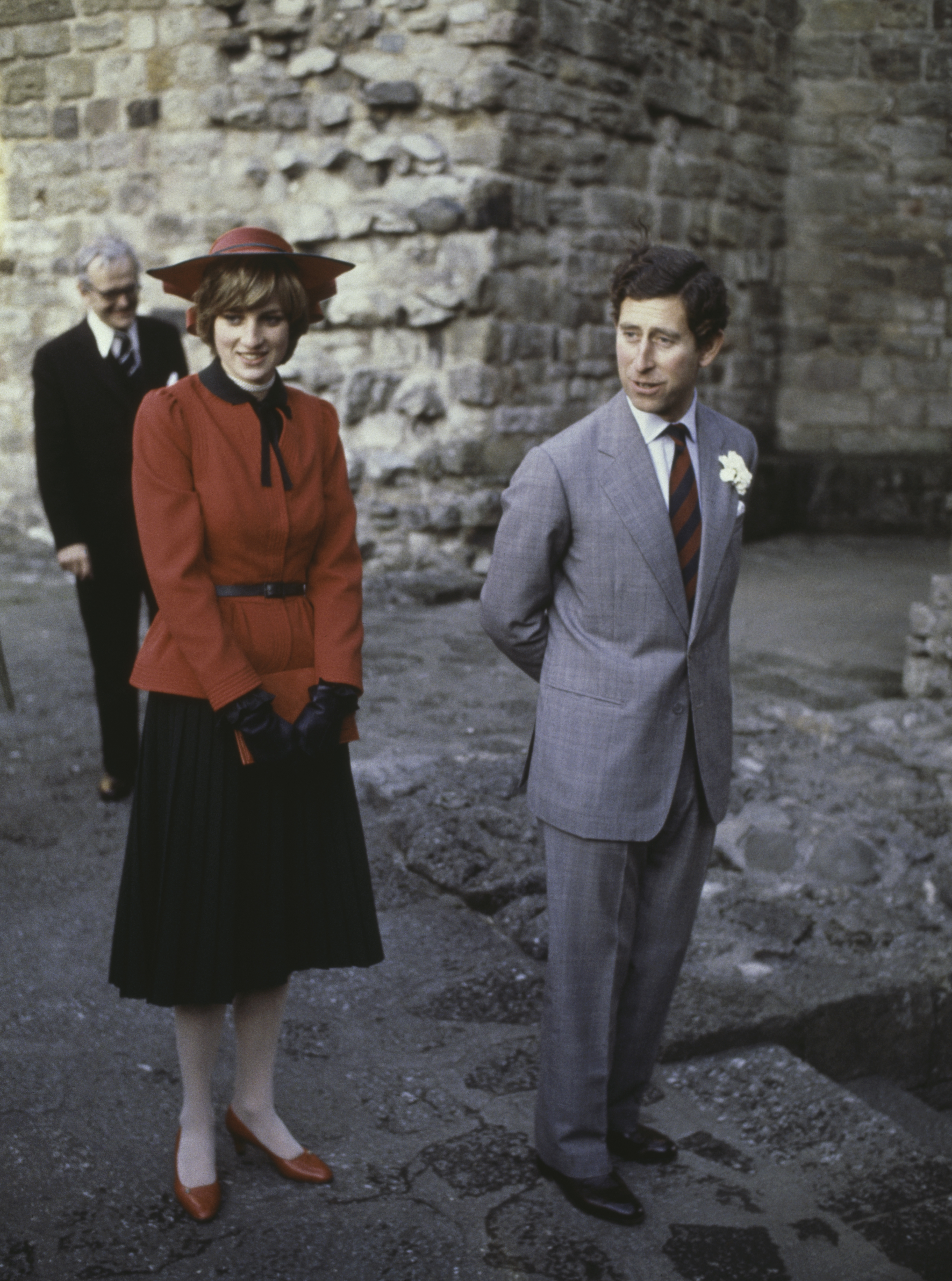 Prince Charles Prince Charles and the Princess of Wales (1961 - 1997, later Diana, Princess of Wales) at Caernarvon Castle during an official tour of Wales, 27th October 1981. (Photo by Hulton Archive/Getty Images)