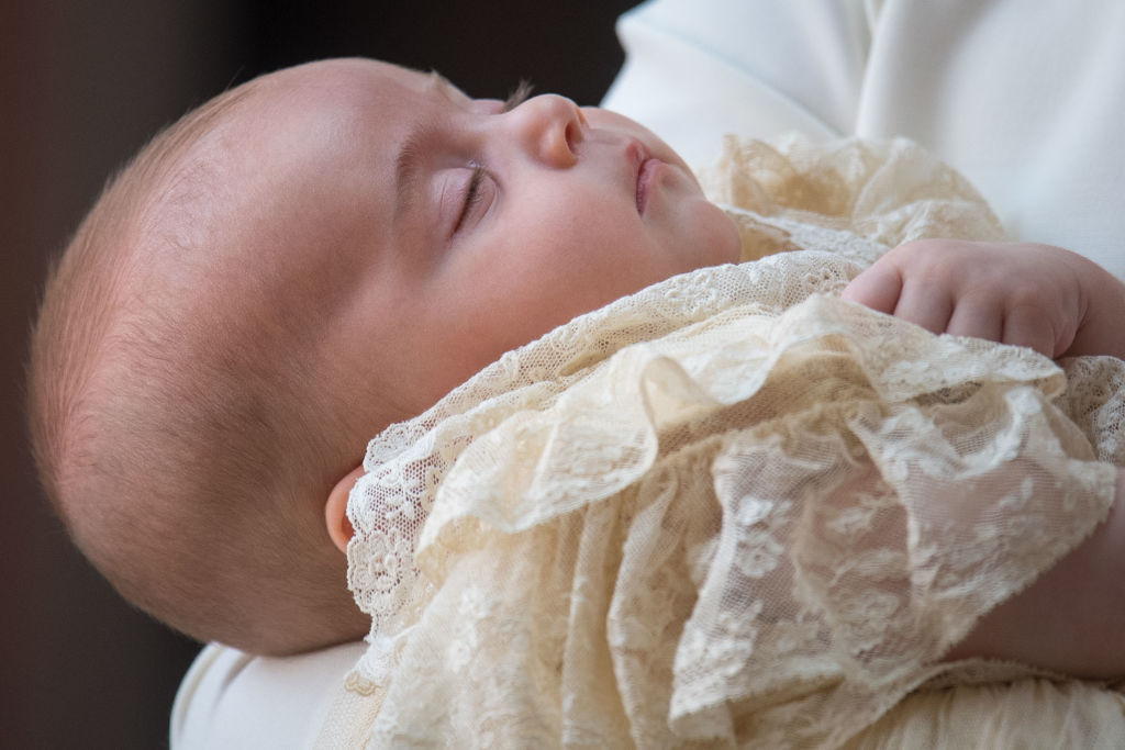Catherine, Duchess of Cambridge carries Prince Louis Of Cambridge as they arrive for his christening service at St James's Palace on July 09, 2018 in London, England. (Photo by Dominic Lipinski - WPA Pool/Getty Images)