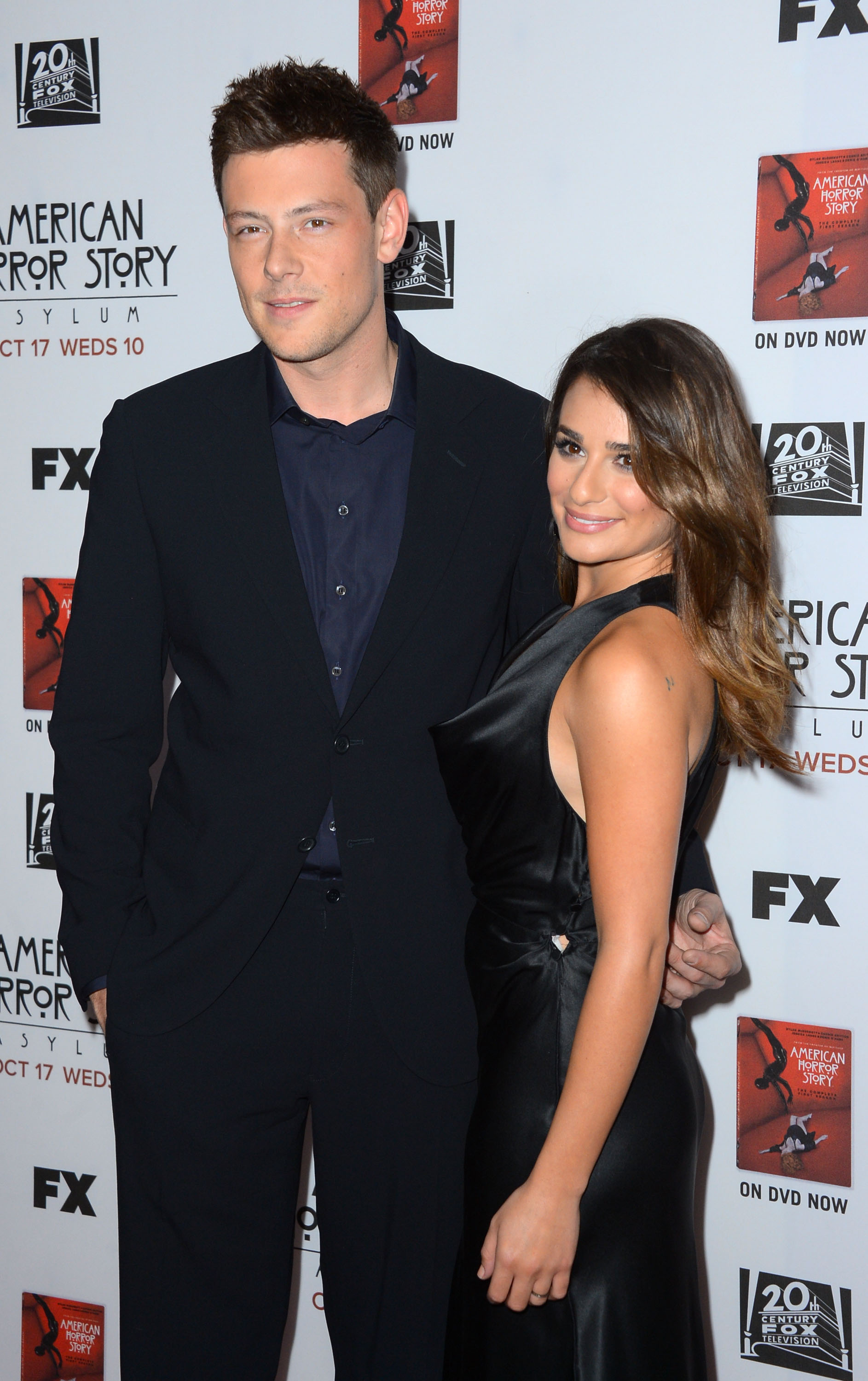 Actors Cory Monteith and actress Lea Michele arrive at the Premiere Screening of FX's 'American Horror Story: Asylum' at the Paramount Theatre on October 13, 2012 in Hollywood, California.