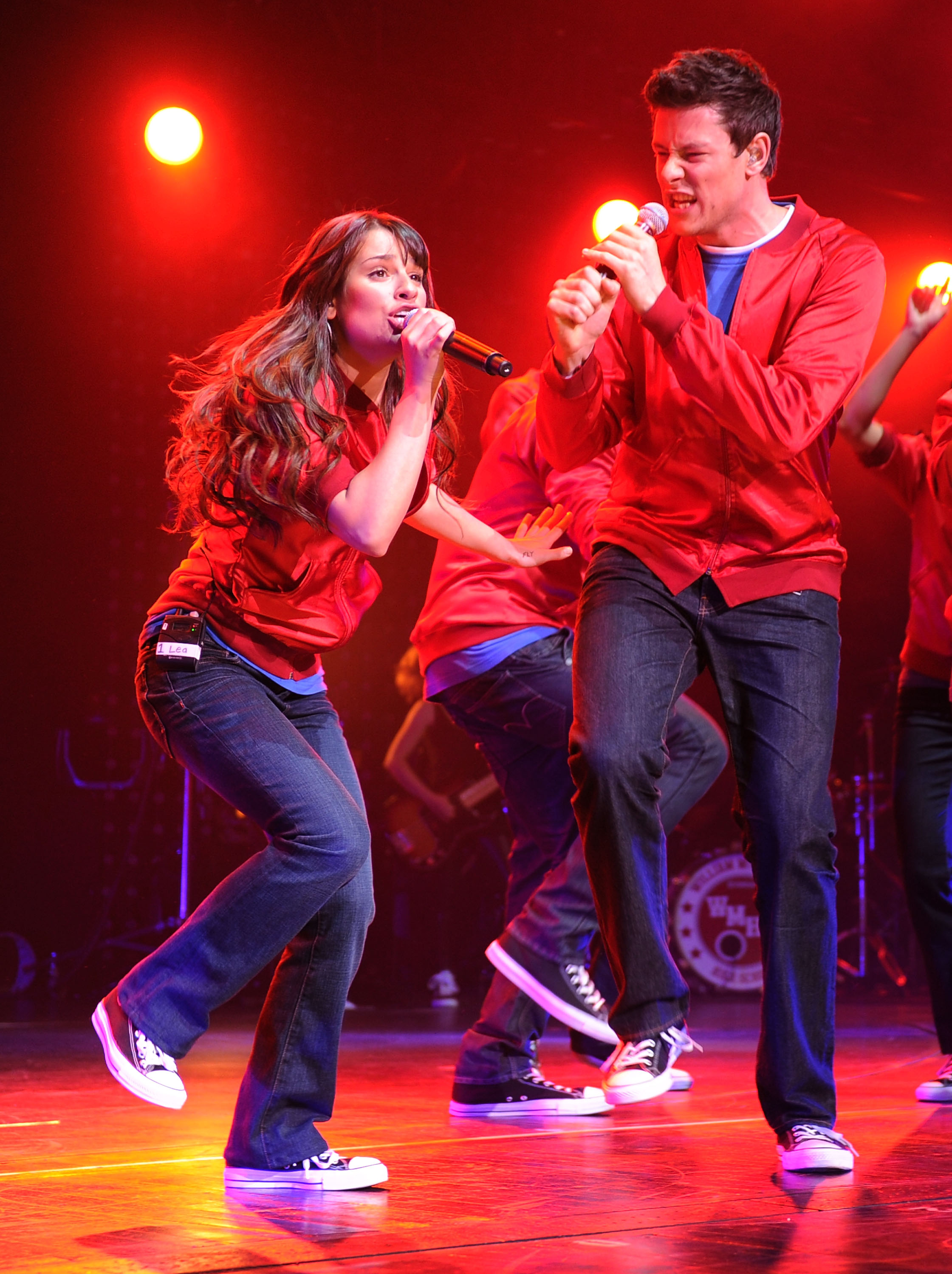 Lea Michele and Cory Monteith from the cast of Glee perform at Radio City Music Hall on May 28, 2010 in New York City.