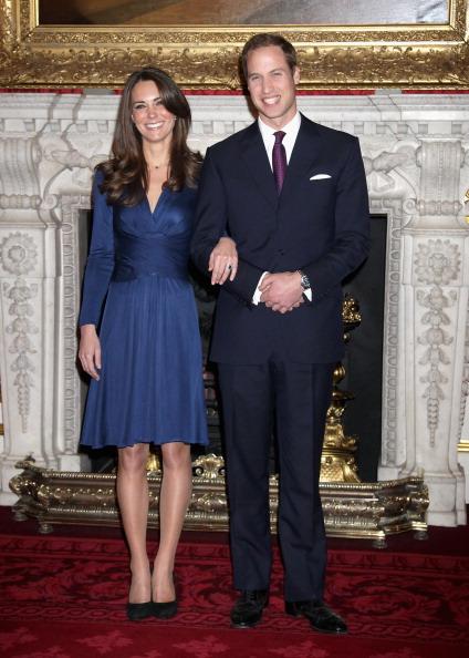 Prince William and Kate Middleton pose for photographs in the State Apartments of St James Palace on November 16, 2010 in London (Photo by Chris Jackson/Getty Images)