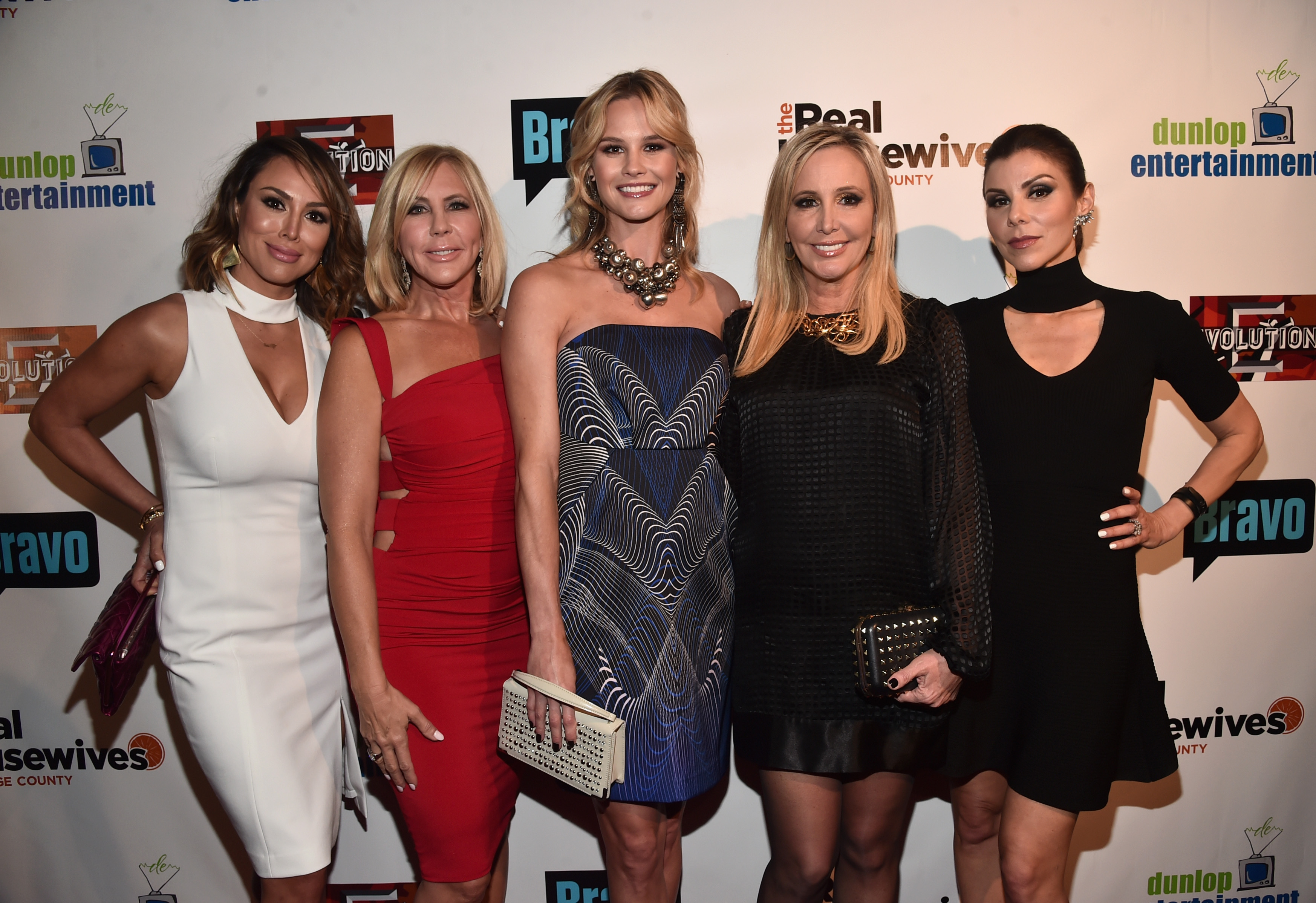 TV persoanlities Kelly Dodd, Vicki Gunvalson, Meghan King Edmonds, Shannon Beador and Heather Dubrow attend the premiere party for Bravo's 'The Real Housewives of Orange County' 10 year celebration at Boulevard3 on June 16, 2016 in Hollywood, California.