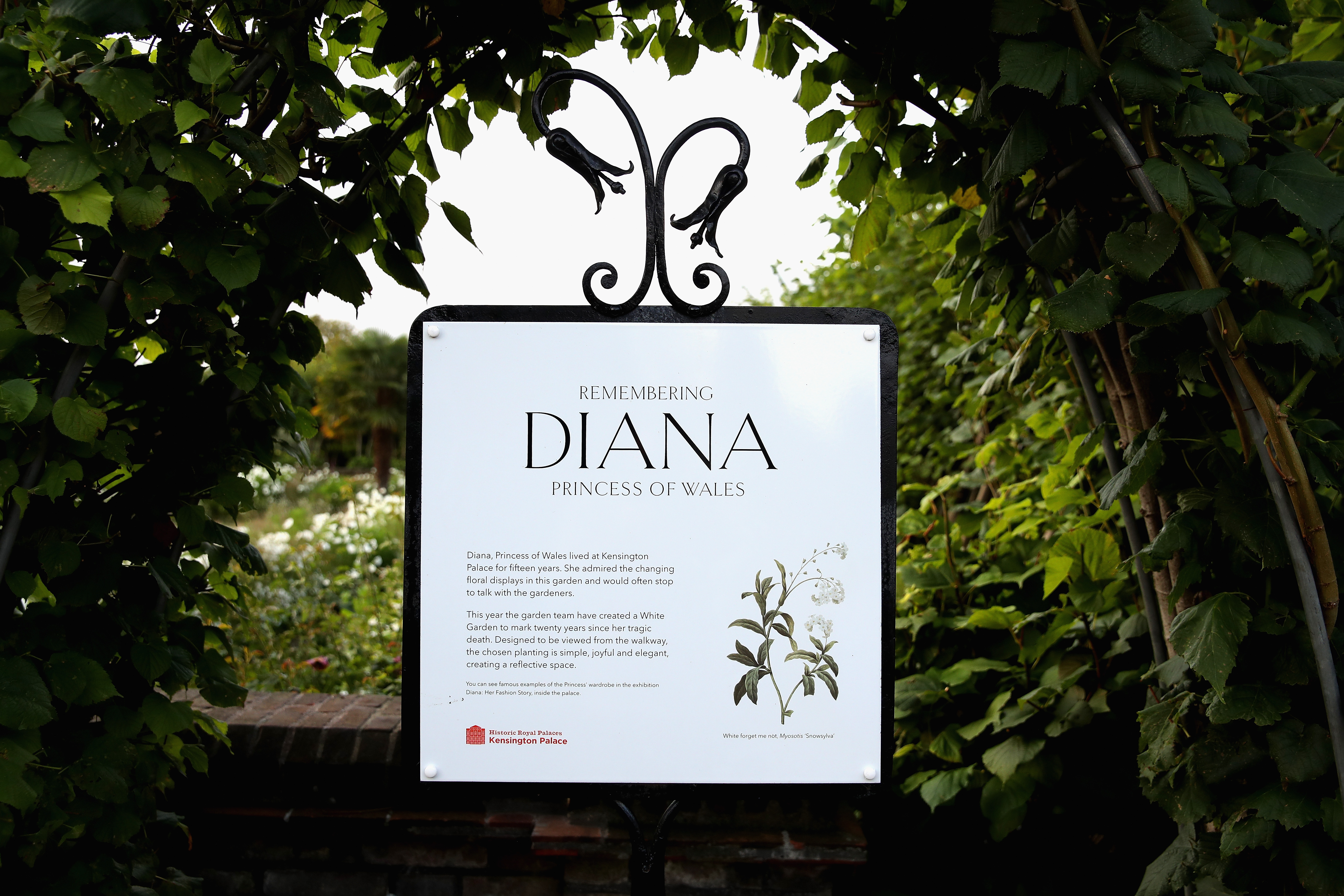 General view of the Princess Diana 'White Garden' at Kensington Palace on August 24, 2017 in London, England. Princess Diana lived at Kensington Palace for fifteen years, after which this garden was created in memory of her now twenty years after her death.