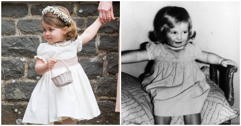 Princess Charlotte at Pippa Middleton's wedding and young Princess Diana (Instagram/ (Photo by Keystone/Getty Images)