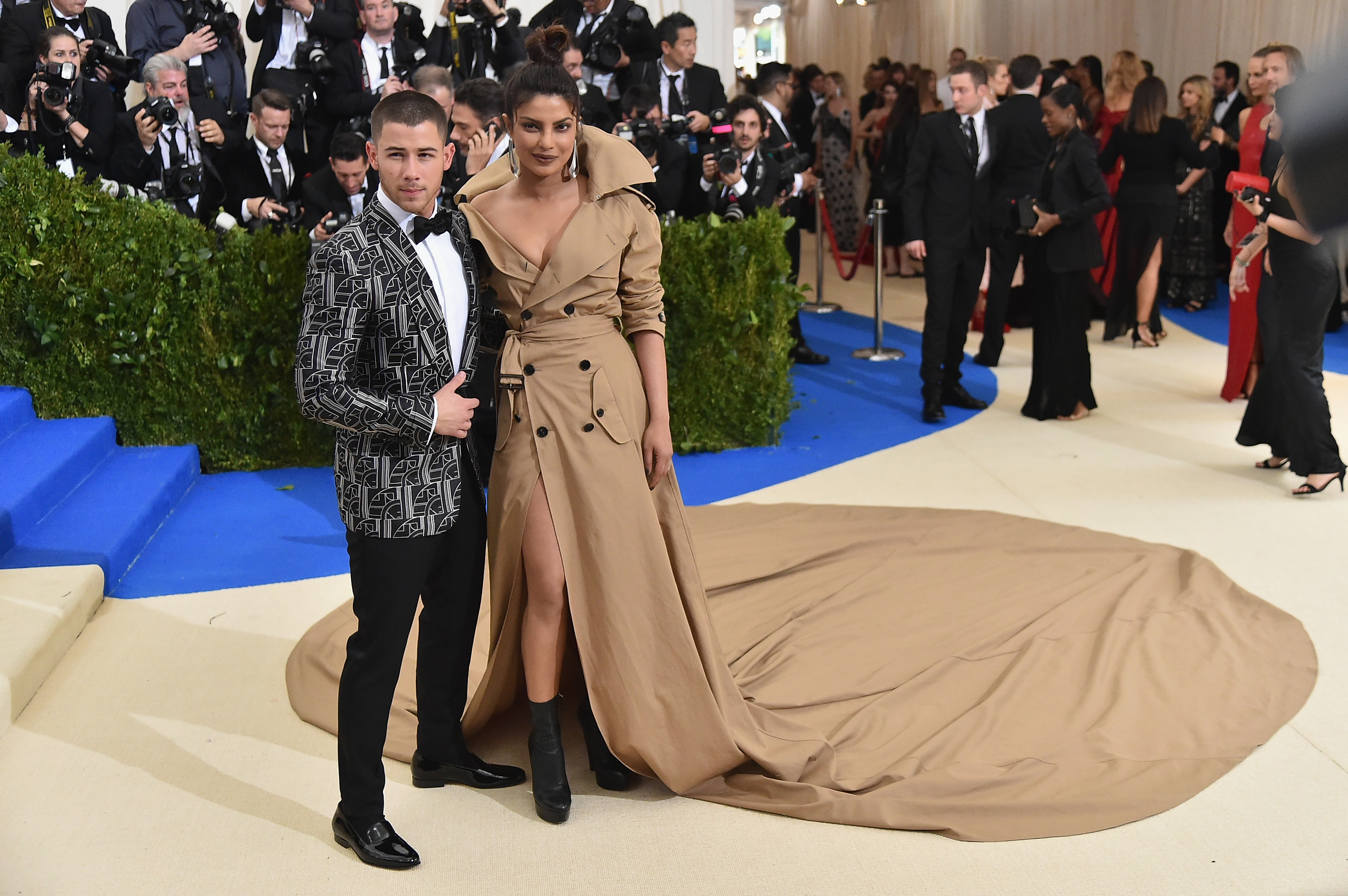 Nick Jonas (L) and Priyanka Chopra attend the 'Rei Kawakubo/Comme des Garcons: Art Of The In-Between' Costume Institute Gala at Metropolitan Museum of Art on May 1, 2017 in New York City.
