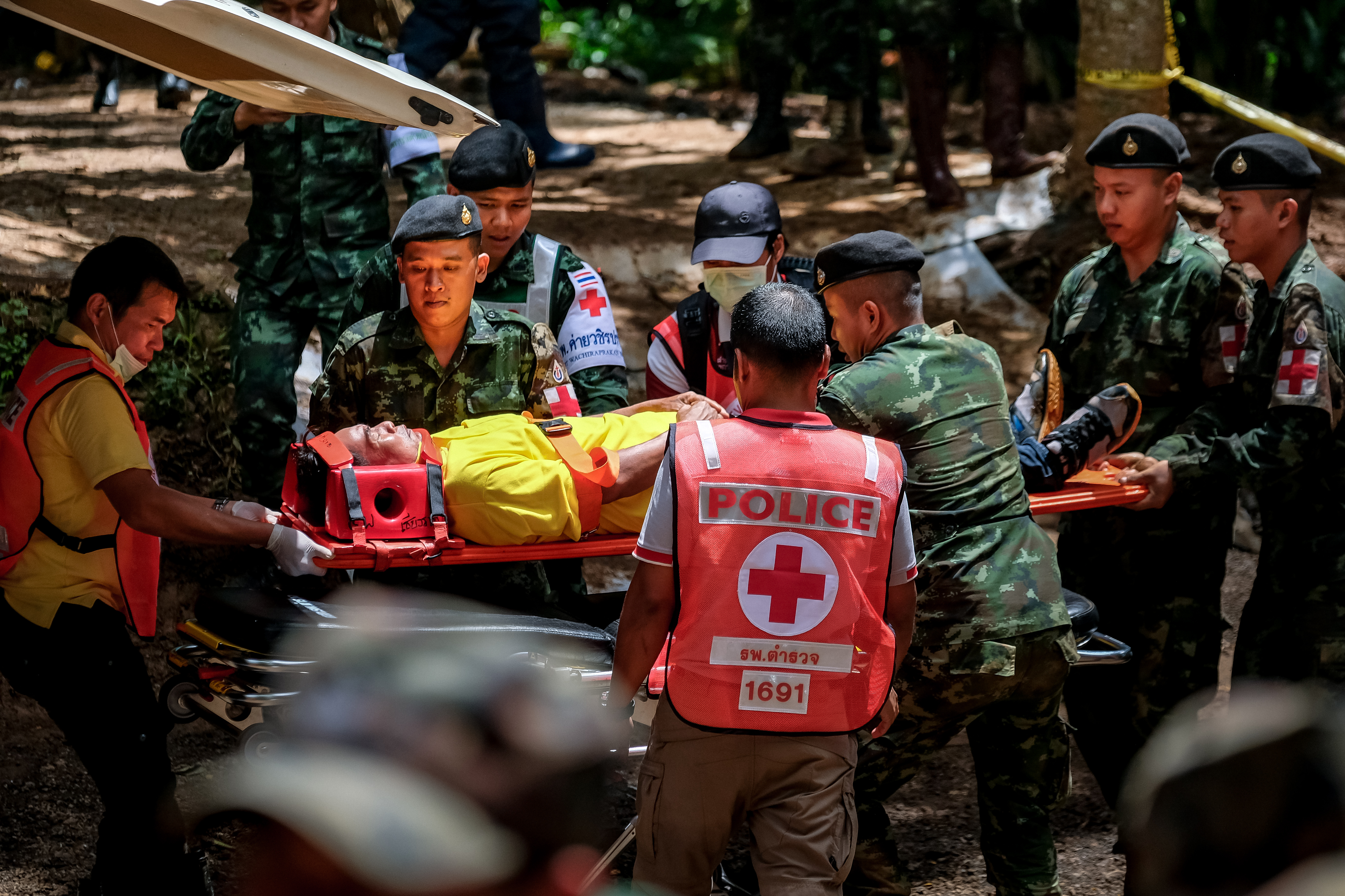 Thai rescue workers practice medical training on an entrance of Tham Luang Nang Non cave on July 04, 2018 in Chiang Rai, Thailand. (Getty Images)
