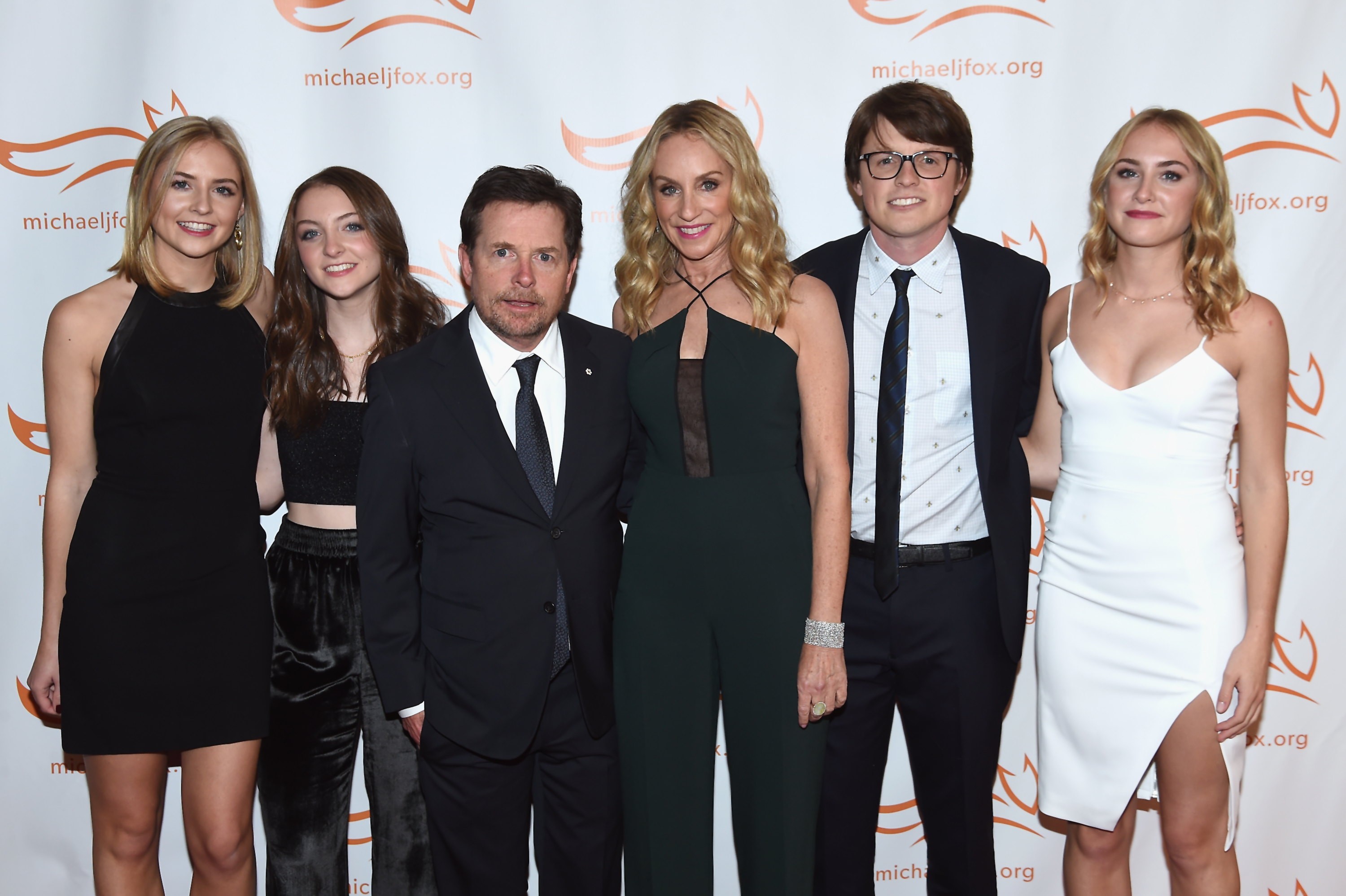 Schuyler Frances Fox, Esmé Annabelle Fox, Sam Michael Fox, Michael J. Fox, Tracy Pollan and Aquinnah Kathleen Fox (Source: Getty Images)