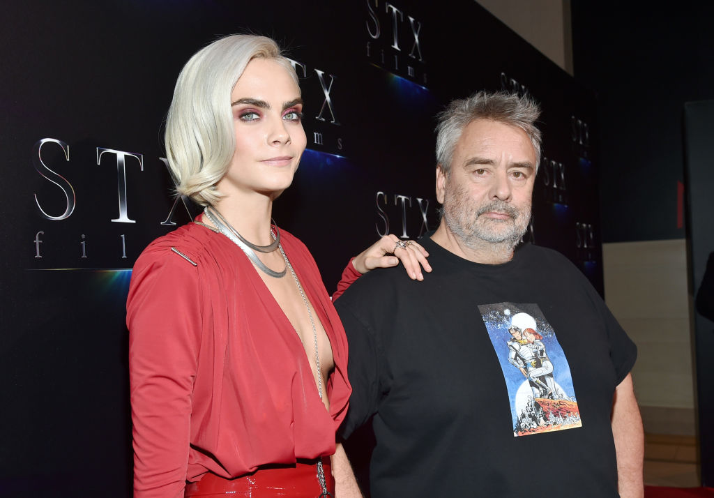 Actor Cara Delevingne (L) and director Luc Besson at CinemaCon 2017 The State of the Industry: Past, Present and Future and STXfilms Presentation at The Colosseum at Caesars Palace during CinemaCon, the official convention of the National Association of Theatre Owners, on March 28, 2017 in Las Vegas, Nevada. (Photo by Alberto E. Rodriguez/Getty Images for CinemaCon)