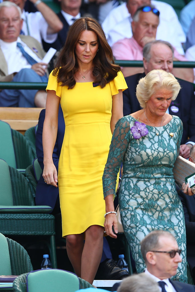 Kate Middleton chose a summery yellow dress by Dolce & Gabbana for the men's singles final at Wimbledon on Sunday (Getty Images)