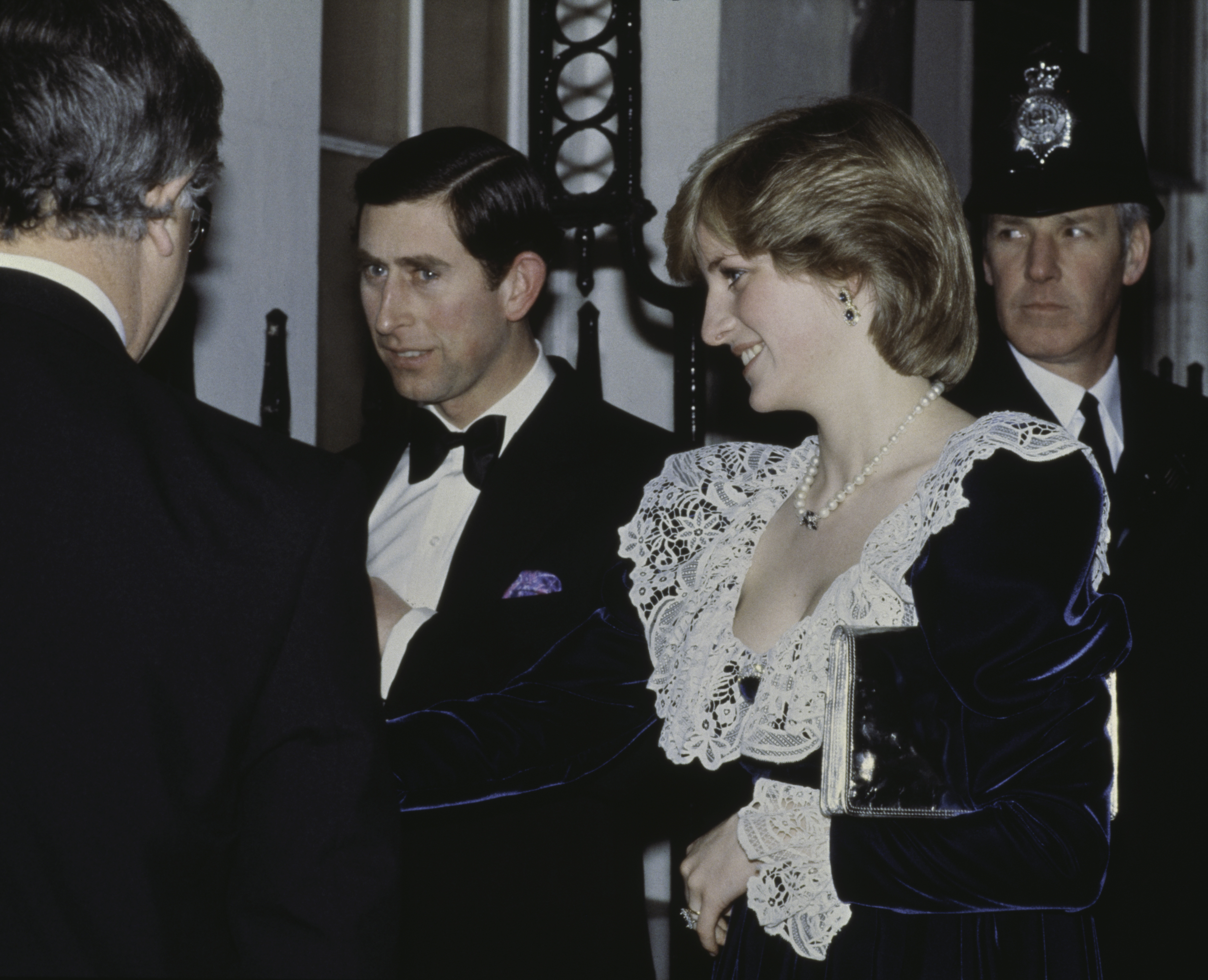 Prince Charles and the Princess of Wales (1961 - 1997, later Diana, Princess of Wales) arrive for a British Film Institute dinner at 11 Downing Street, the official residence of the Chancellor of the Exchequer, 2nd February 1982. Diana wears a lace and velvet gown by Bellville Sassoon. (Photo by Central Press/Hulton Archive/Getty Images)