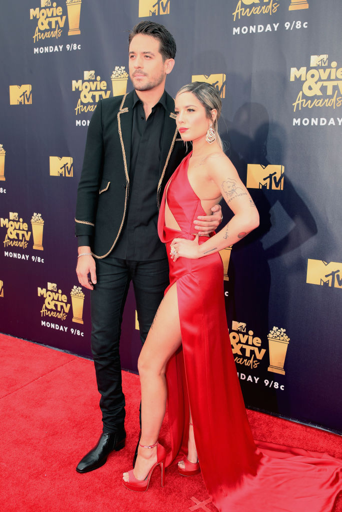 Recording artists G-Eazy (L) and Halsey attend the 2018 MTV Movie And TV Awards at Barker Hangar on June 16, 2018 in Santa Monica, California. (Photo by Christopher Polk/Getty Images for MTV)