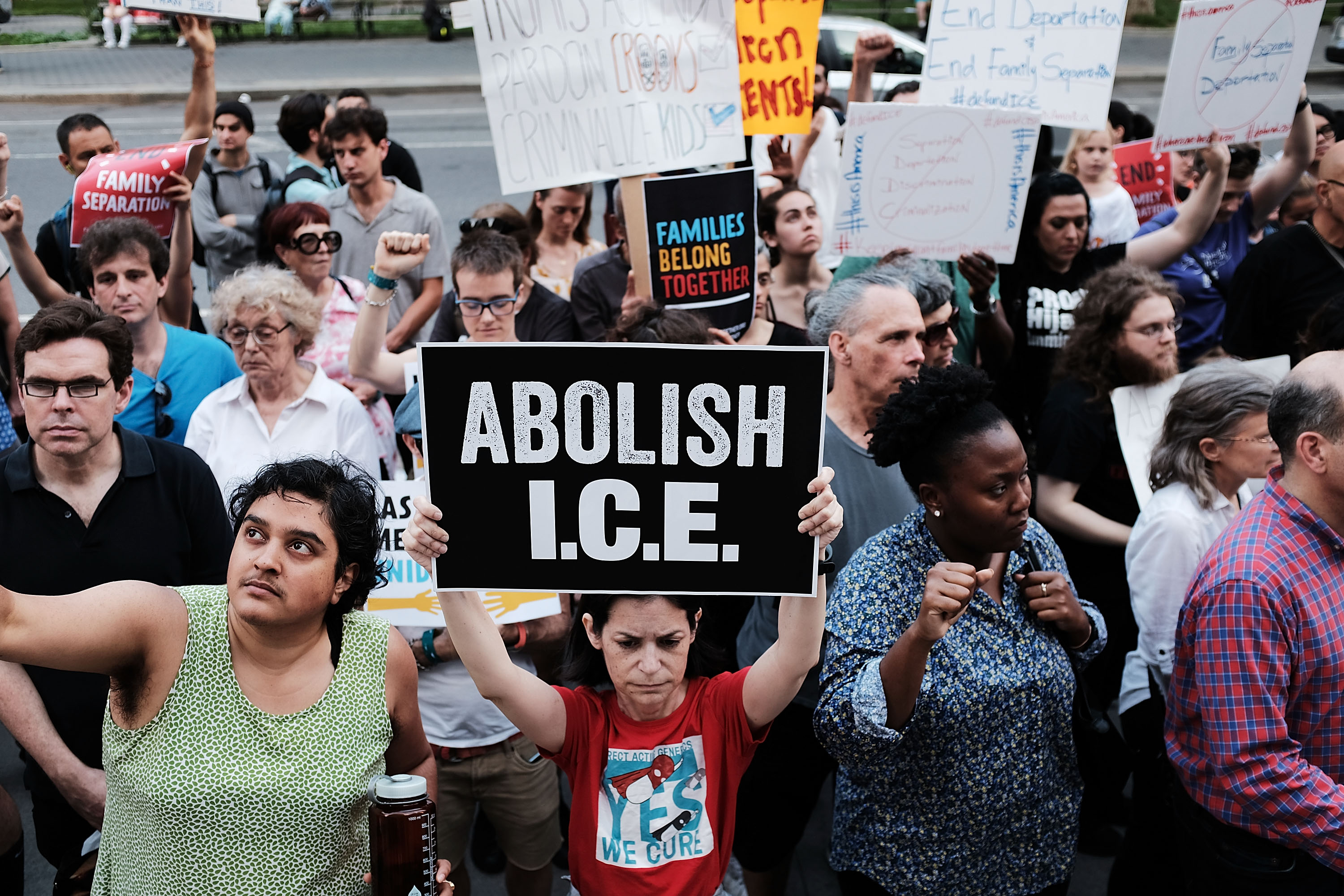 Immigrant rights advocates and others participate in rally and an demonstration at the Federal Building in lower Manhattan against the Trump administration's policy that enables federal agents to take migrant children away from their parents at the border on June 1, 2018 in New York City. (Getty Images)