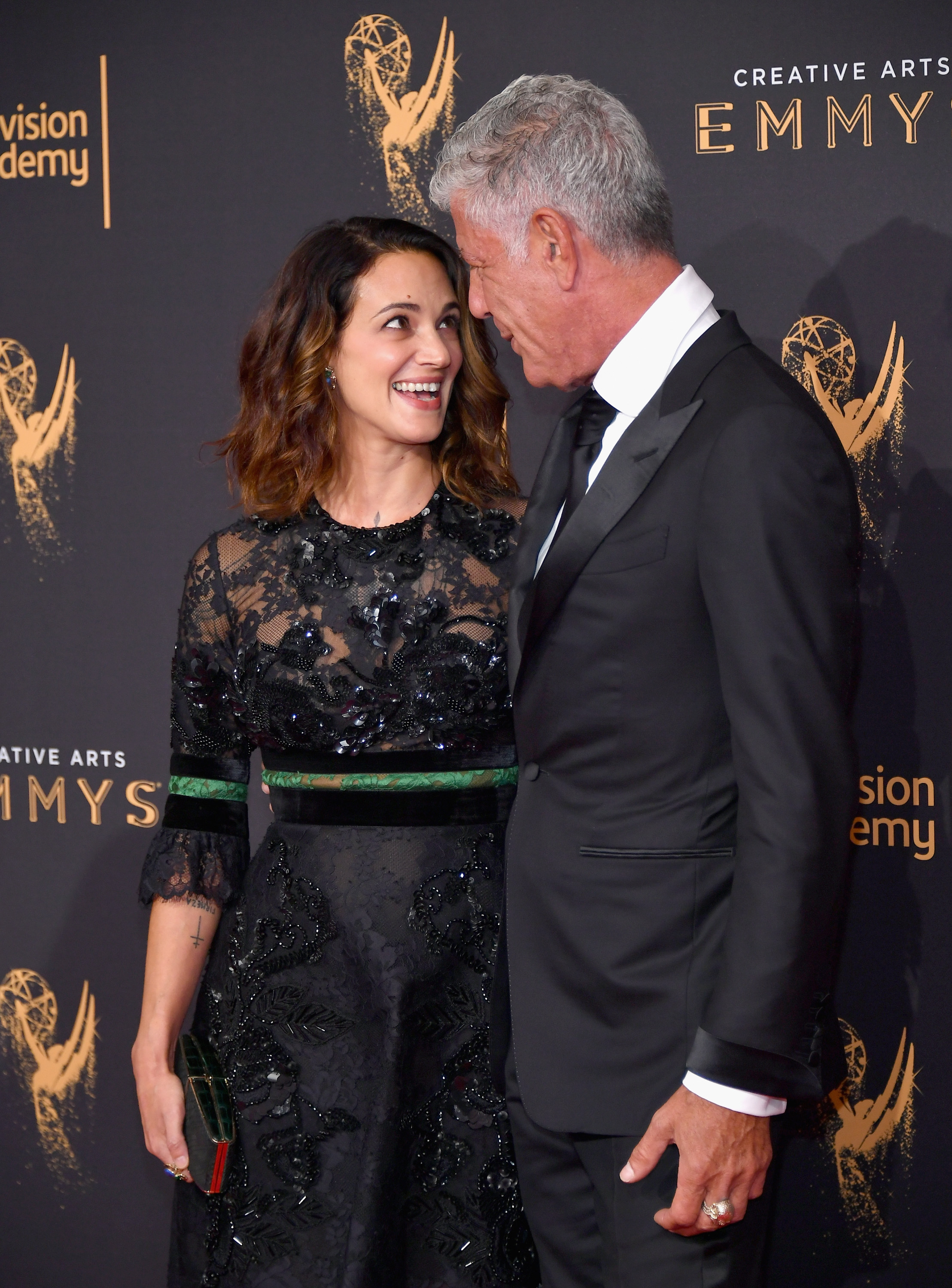 Actor Asia Argento and Anthony Bourdain attend day 1 of the 2017 Creative Arts Emmy Awards at Microsoft Theater on September 9, 2017 in Los Angeles, California.