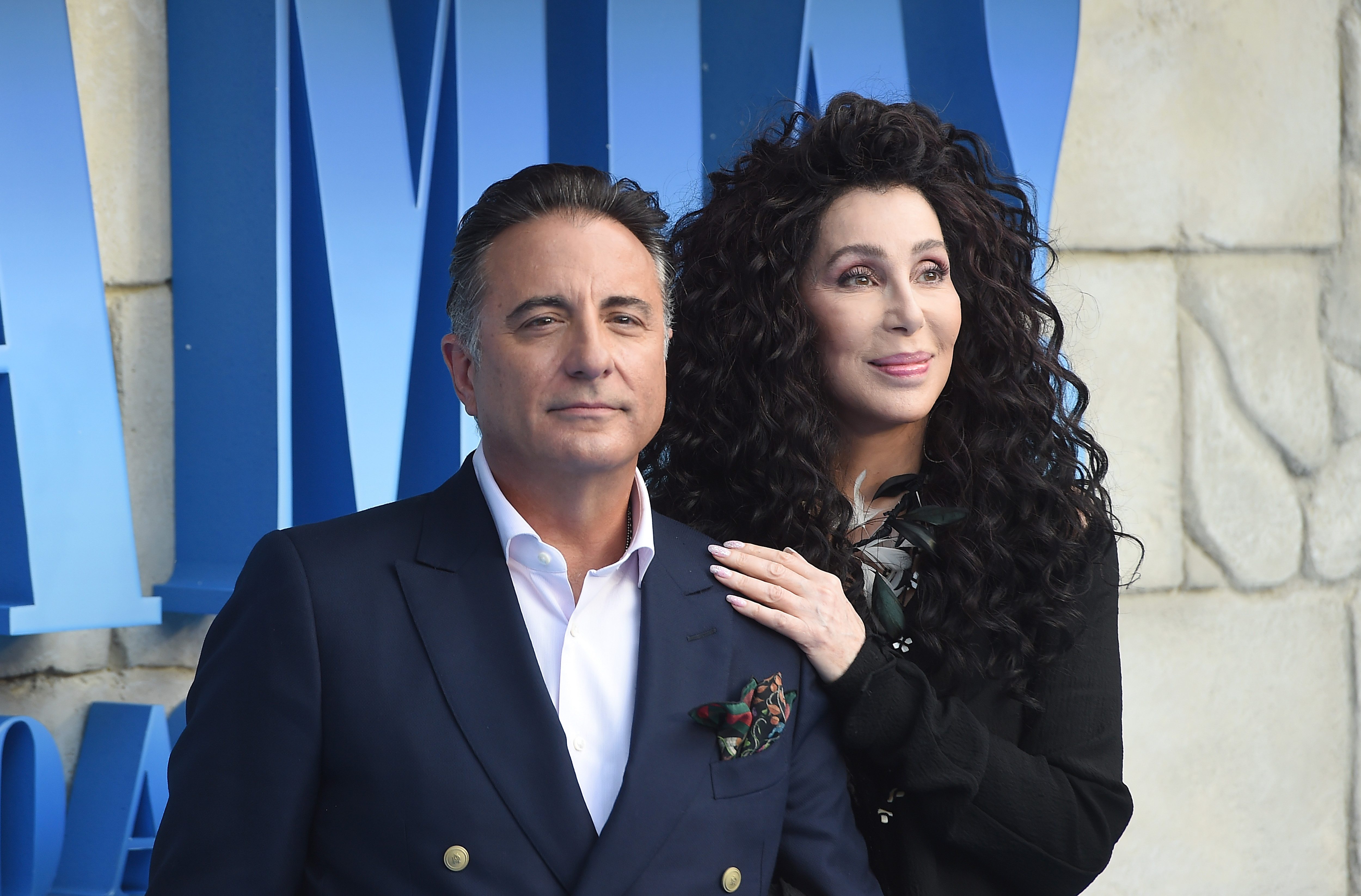 Andy Garcia and Cher attend the 'Mamma Mia! Here We Go Again' world premiere at the Eventim Apollo, Hammersmith on July 16, 2018 in London, England.